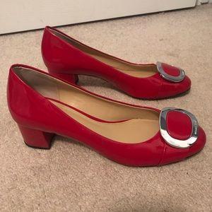 Michael Kors patent red block heels size 9 M